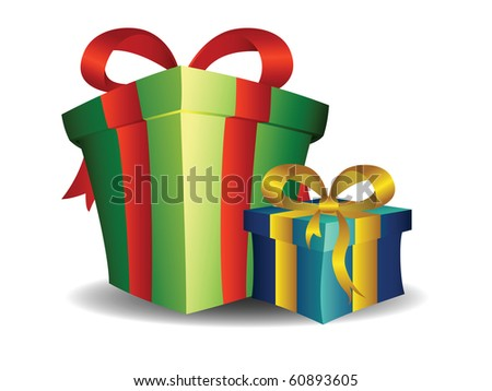 Holiday Gift Boxes. Green and blue. - stock vector
