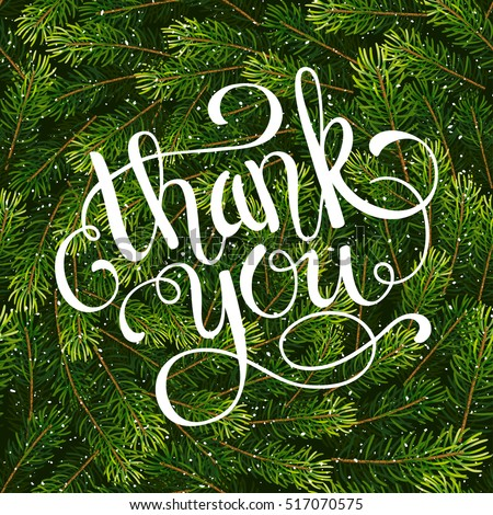Holiday gift card hand lettering thank stock vector 517070575 holiday gift card with hand lettering thank you on christmas fir tree branches background vector negle Image collections
