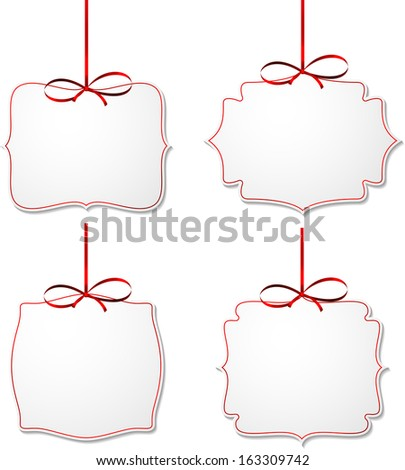 Holiday gift cards with red ribbons and satin bows. Vector illustration.  - stock vector