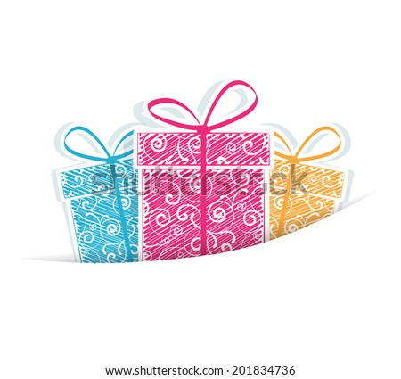 Holiday gifts on a white background - stock vector