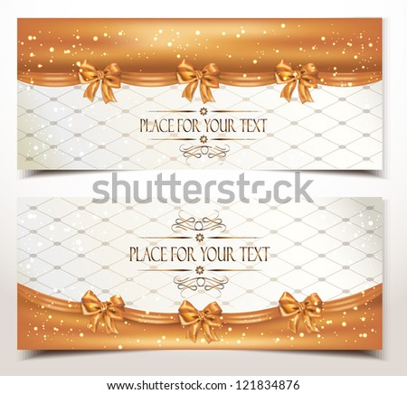 Holiday gold banners with silk bows - stock vector