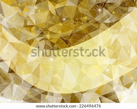 Holiday golden frame with triangles, stars  and translucent gold line (vector EPS 10) - stock vector