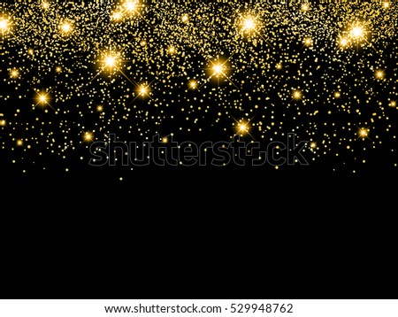 Holiday Golden Star Night Background With Copyspace
