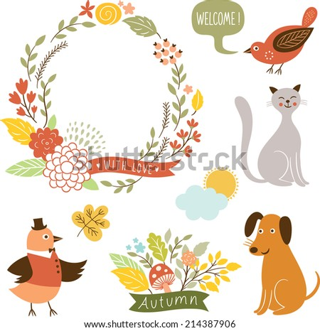 holiday graphic elements, vector collection  - stock vector