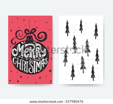 Holiday greeting card design. Unique hand drawn Merry Christmas lettering in a Christmas ball. Christmas card decoration element. Vector typography.  - stock vector