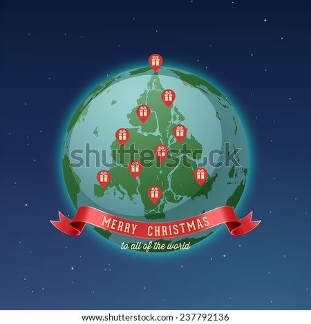 Holiday Greeting Card, Merry Christmas to all of the world, all continents and landmasses fit together forming Christmas tree, while gps pins locating gift boxes represents red Christmas ornaments. - stock vector