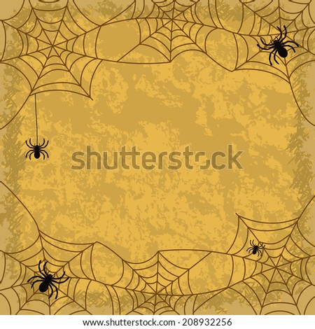 Holiday Halloween background, spiders, cobwebs and wall texture. Vector - stock vector