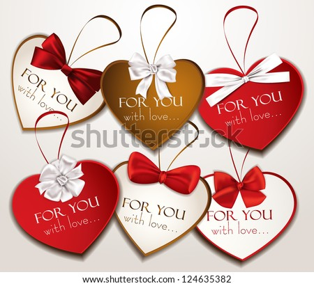 Holiday heart shaped cards with silk ribbons - stock vector