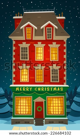 Holiday in the house. Christmas card \ poster \ banner. Vector illustration. - stock vector