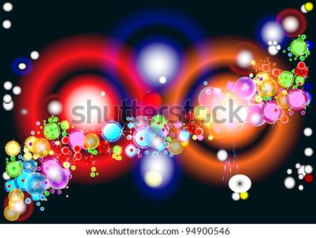 Holiday in the night sky. Rainbow - stock vector