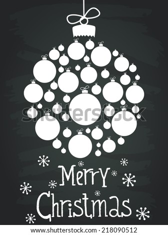 Holiday invitation or greeting card template with christmas bauble made of white christmas balls and hand drawn lettering. Cute winter poster on chalkboard background. - stock vector