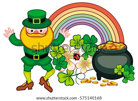 Holiday Label With Shamrock Rainbow Leprechaun And A Pot Of Gold St