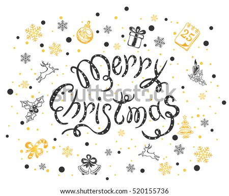 Holiday lettering with black and golden decorative elements, inscription Merry Christmas with snowflakes and decoration on a white background, illustration.
