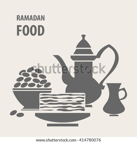 Holiday meal. Arabic teapot. Iftar (muslim fasting) party. Muslim dinner. Turkish sweet dishes. Muslim festive meal. Ramadan Kareem vector background. - stock vector