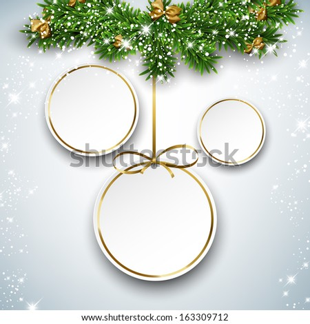 Holiday paper round labels. Christmas balls over starry background with fir branches. Vector illustration.  - stock vector