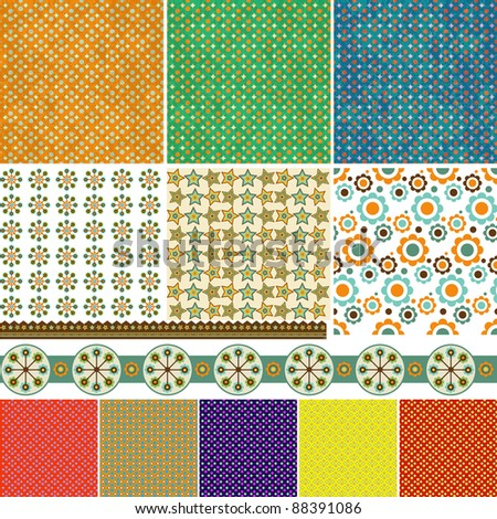 Holiday pattern and decoration set - stock vector