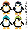 Holiday Penguin Set - stock vector