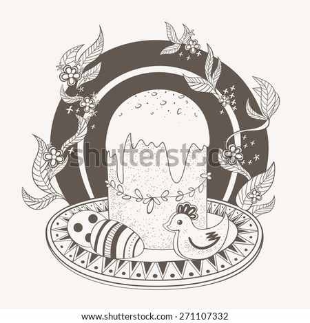 Holiday picture with Easter cake, painted eggs and plate with Easter cake and painted eggs on a background of flowers. Monochrome. - stock vector