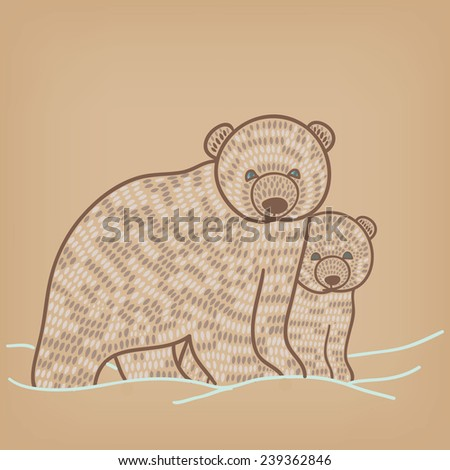 holiday polar bear couple - stock vector