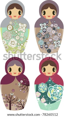 holiday project- very cute kid's project- scrap-booking elements- floral sticker - Russian doll - stock vector