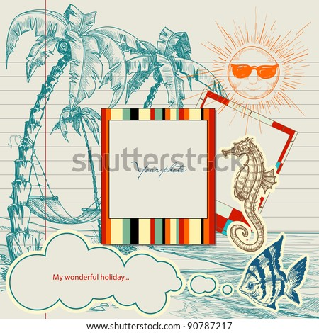 Holiday projects for travel flyers or brochures. Hand drawn beach, palm trees and hammock, frames for photo or text - stock vector