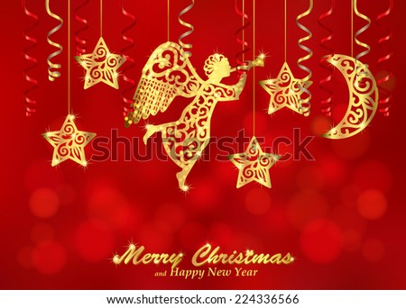 Holiday red background with golden figures of angel, stars and moon. Christmas background decorated with paper streamers and fillet silhouettes of blowing angel, stars, moon. Vector.  - stock vector