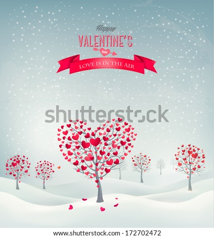 Holiday retro background. Valentine trees with heart-shaped leaves. Vector illustration.