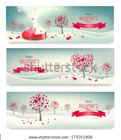 Holiday retro banners. Valentine trees with heart-shaped leaves. Vector - stock vector