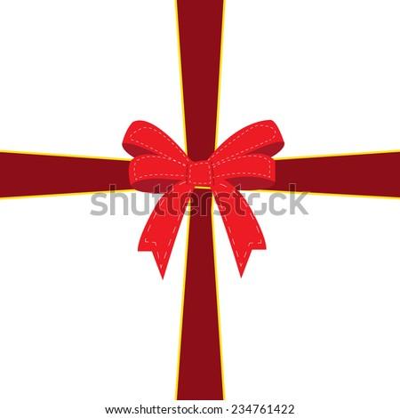 Holiday ribbon and bow - stock vector