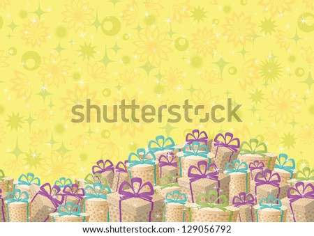 Holiday seamless background, festive gift boxes and floral pattern. Vector - stock vector