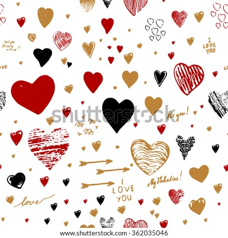 "Holiday seamless background with hearts greeting card with hand-drawn hearts in Doodle style sketch art. Graffiti with hearts and inscriptions: ""happy Valentine's Day"", ""I love you"", ""My Valentine"". - stock vector"