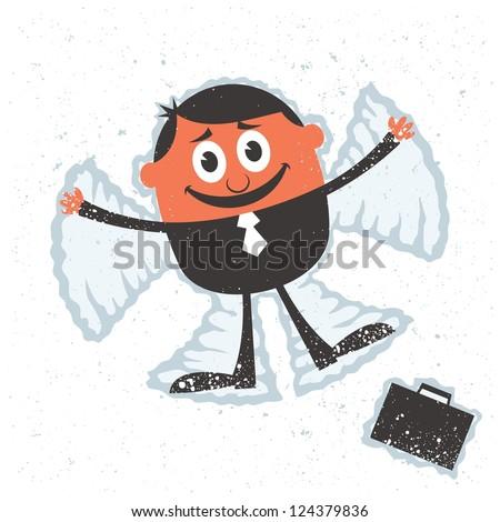 Holiday Season: Businessman making snow angel. - stock vector