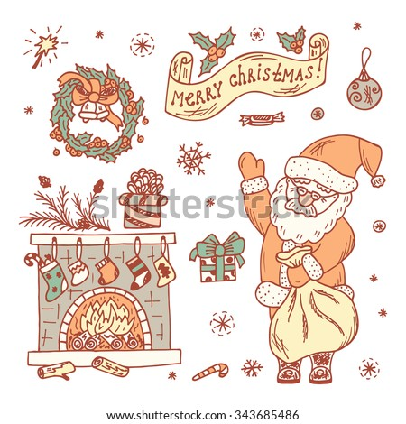 Holiday Set. Merry Christmas. Hand Drawn Doodles Santa Claus, fireplace and decorations. - stock vector