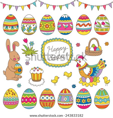 Holiday set of decorative easter elements for your design