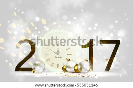 Holiday shine light Background and festive baubles. New Year Midnight on the Clock 2017.