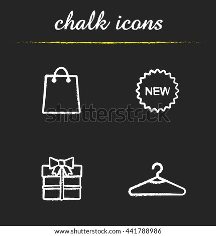 Holiday shopping icons set. Paper bag, new sticker, gift box and hanger illustrations. Clothes store items. Isolated vector chalkboard drawings - stock vector