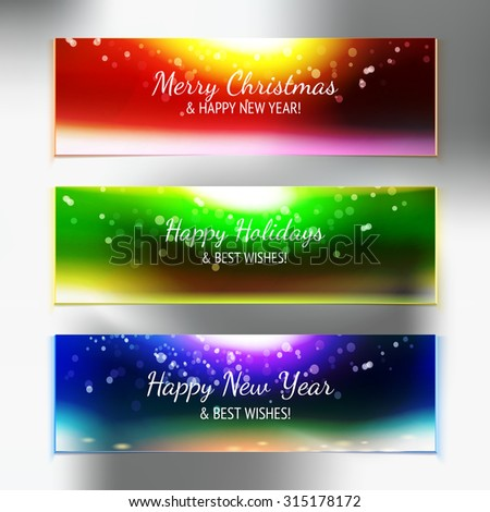 Holiday sky with best wishes banner set, vector illustration. Abstract decorative tape. Party design element.