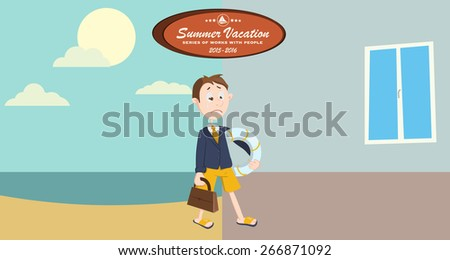 Holiday summer vacation with character design. Extraordinary life outside the office. Freedom of action and no discouragement. Illustration for a travel company. - stock vector