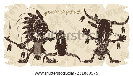 Holiday traditions of Native Americans, vector - stock vector