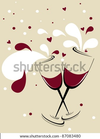 holiday vector background with two glasses of wine, red hearts - stock vector