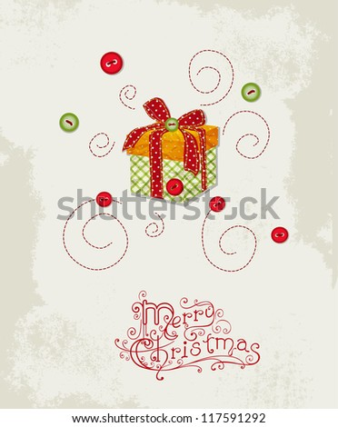 Holiday vintage background with gift. Christmas scrapbooking template - stock vector