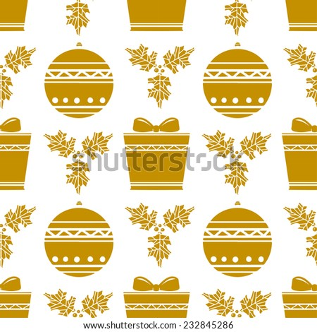 Holiday vintage Christmas seamless  pattern with gift box, ball, holly in white and gold. New Year ornament. Cloth design. Wallpaper - stock vector