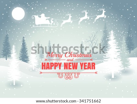 Holiday winter landscape background with Santa Claus on the sky with winter tree. Merry Christmas and Happy New Year. Vector.  - stock vector