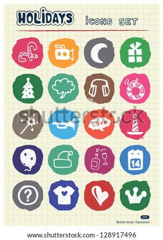 Holidays and celebration web icons set drawn by chalk. Hand drawn vector elements pack isolated on paper - stock vector