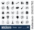 Holidays and celebration web icons set. Hand drawn sketch illustration isolated on white background - stock
