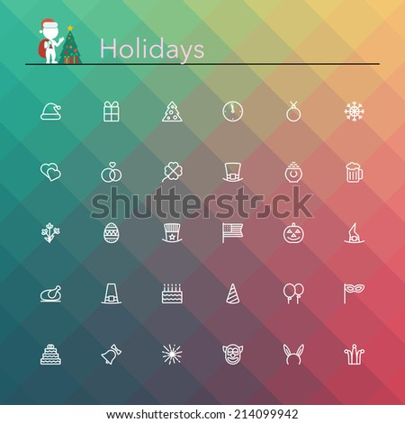 Holidays and events line Icons set. Vector illustration. - stock vector
