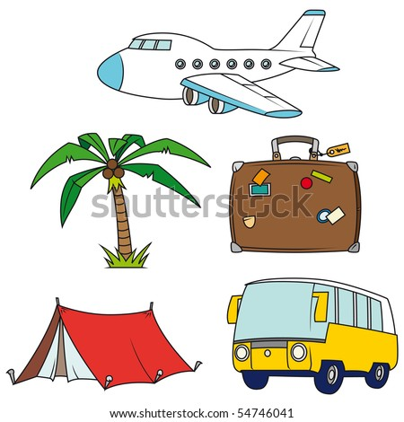 Holidays and travel clip-art set isolated on white background - Look at the portfolio for other sets - stock vector