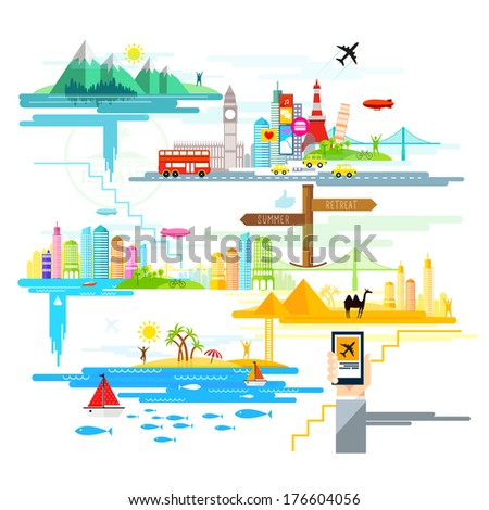 Holidays and Trips Abroad! A vector illustration, flat design with holiday and travel destinations across the world. - stock vector