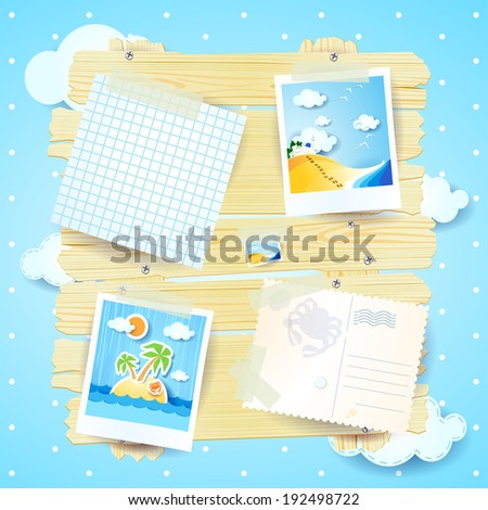 Holidays background with photos and postcard, vector - stock vector