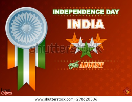 Holidays design background for National Celebration of India; Orange, white and green stars and Ashoka wheel on national flag colors for fifteenth of August, Indian Independence Day          - stock vector